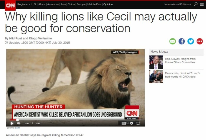 Why killing lions like Cecil may actually be good for conservation, CNN, July 2015