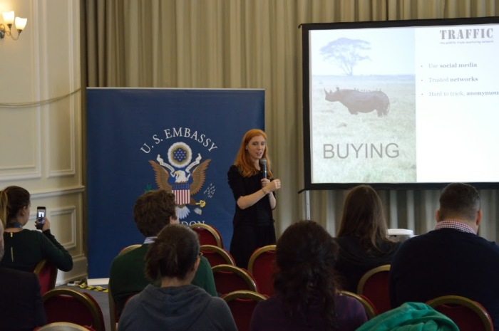Presenting at the US Embassy on how to tackle illegal wildlife trade